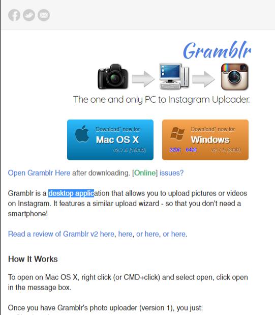 GRAMBLR, la aplicación que te permite subir fotos a Instagram desde tu PC